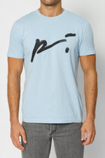 Blue Signature Logo Print Slim Fit T-shirt