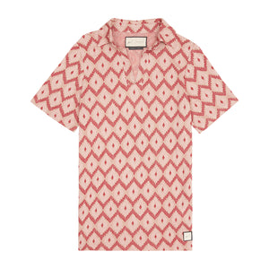 Load image into Gallery viewer, Pink Artemis Jacquard Print Polo - P r é v u . S t u d i o .