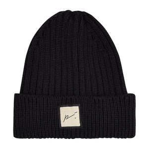 Load image into Gallery viewer, Kids Black Ribbed Merino Beanie Hat - P r é v u . S t u d i o .