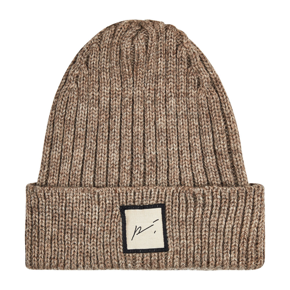 Kids Light Brown Ribbed Merino Beanie Hat - P r é v u . S t u d i o .