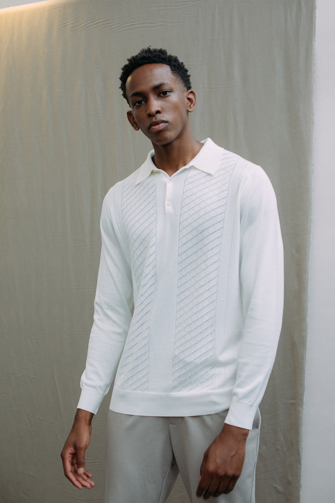 Ecru Princelet Knitted Long Sleeve Slim Fit Polo