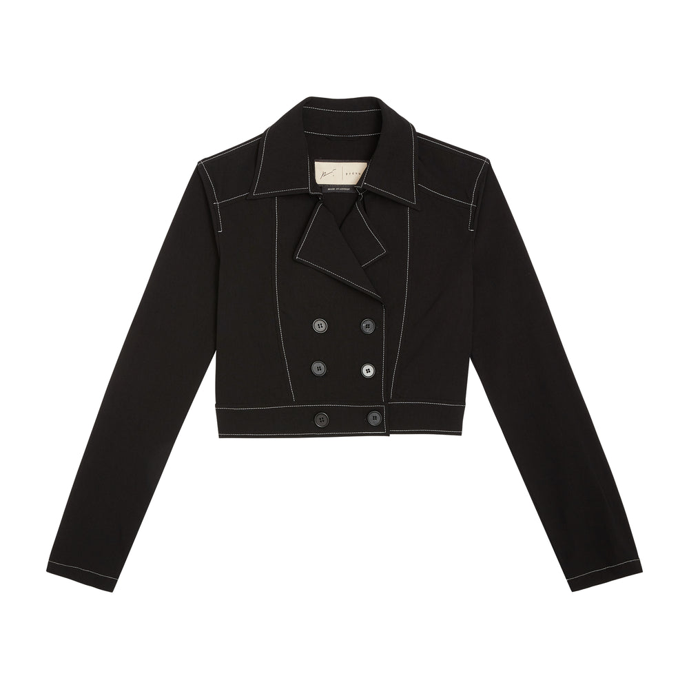 Load image into Gallery viewer, Women's Black Alento Cropped Blazer - P r é v u . S t u d i o .