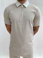 Stone and Cream Salvatore Zip Neck Slim Fit Polo - P r é v u . S t u d i o .