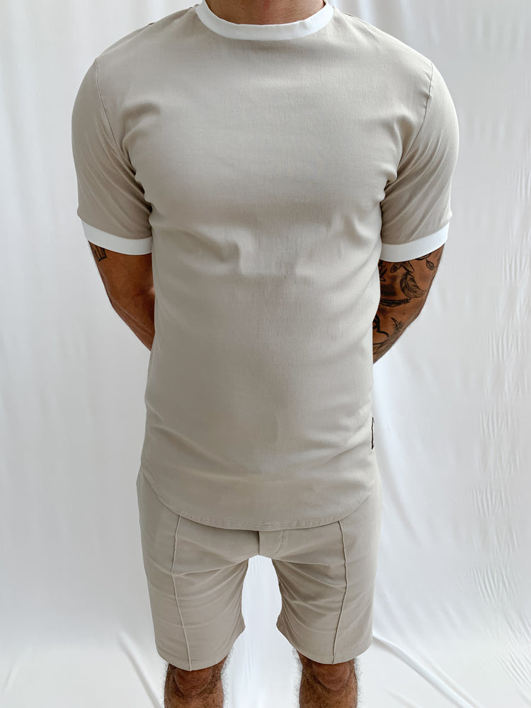 Stone and Cream Salvatore Slim Fit T-shirt - P r é v u . S t u d i o .