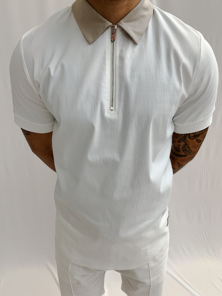 Cream and Stone Salvatore Zip Neck Slim Fit Polo - P r é v u . S t u d i o .