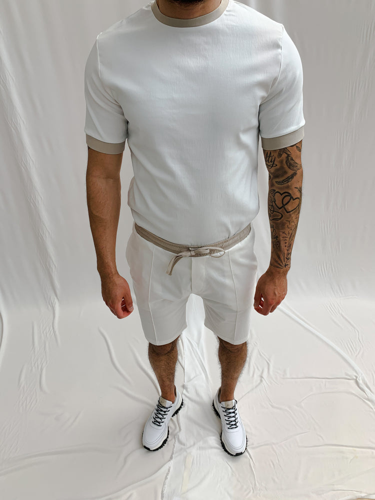 Load image into Gallery viewer, Cream and Stone Salvatore Shorts - P r é v u . S t u d i o .