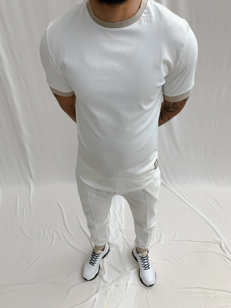 Cream and Stone Salvatore Slim Fit T-shirt - P r é v u . S t u d i o .