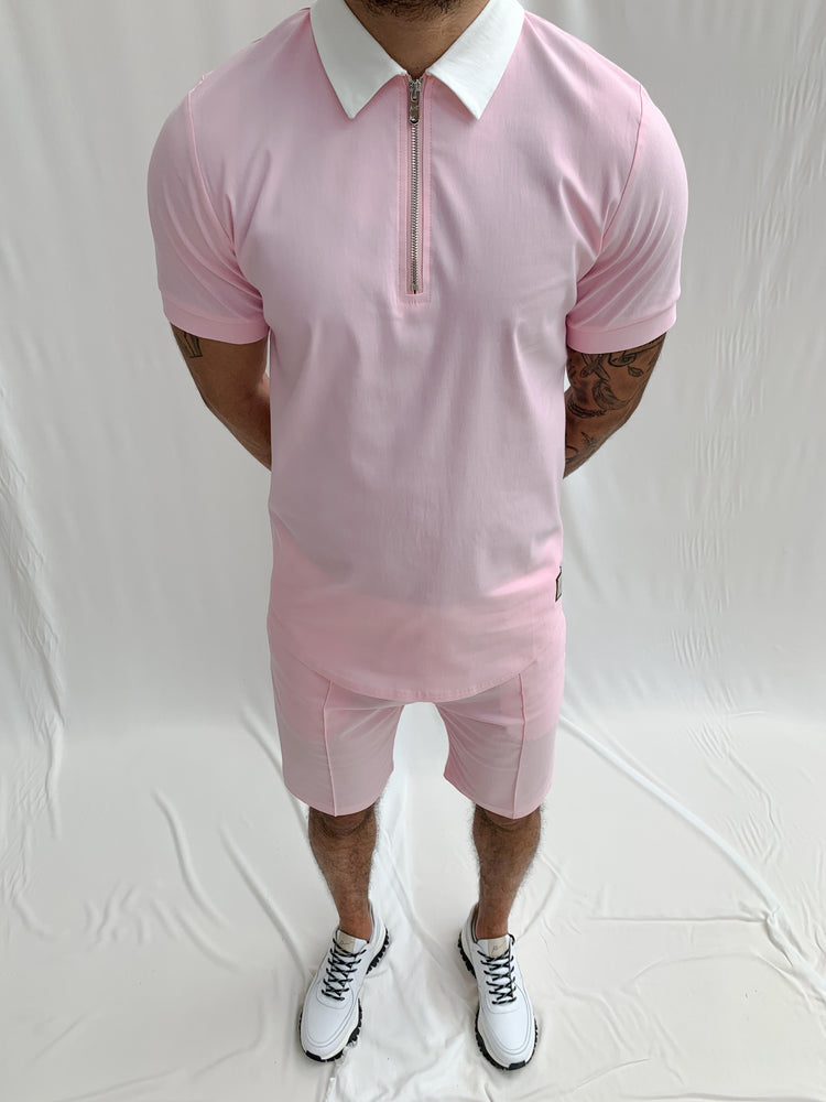 Pink and Cream Salvatore Zip Neck Slim Fit Polo - P r é v u . S t u d i o .
