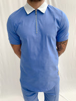 Sky Blue and Cream Salvatore Zip Neck Slim Fit Polo - P r é v u . S t u d i o .