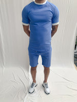 Sky Blue and Cream Salvatore Slim Fit T-shirt - P r é v u . S t u d i o .