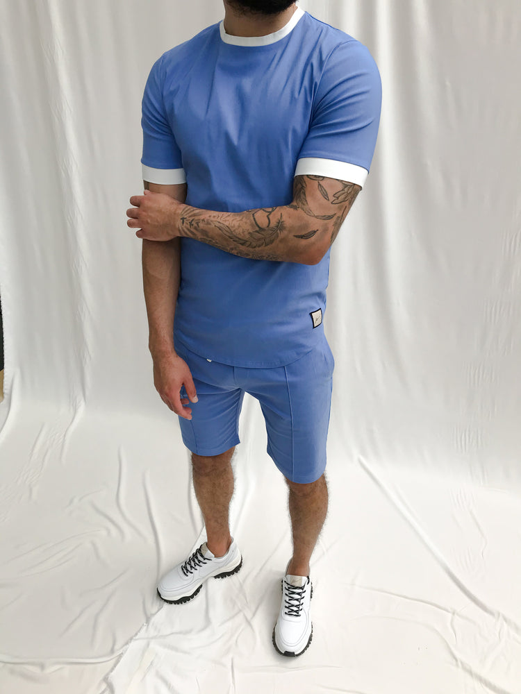 Load image into Gallery viewer, Sky Blue and Cream Salvatore Shorts - P r é v u . S t u d i o .