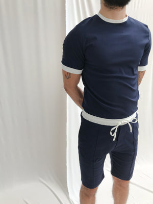 Navy and Cream Salvatore Slim Fit T-shirt - P r é v u . S t u d i o .
