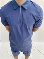 Washed Blue Salvatore Zip Neck Slim Fit Polo - P r é v u . S t u d i o .