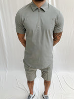 Light Grey Salvatore Zip Neck Slim Fit Polo - P r é v u . S t u d i o .