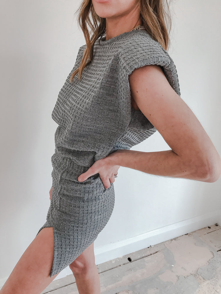 Women's Light Grey Heddon Check Mini Skirt - P r é v u . S t u d i o .