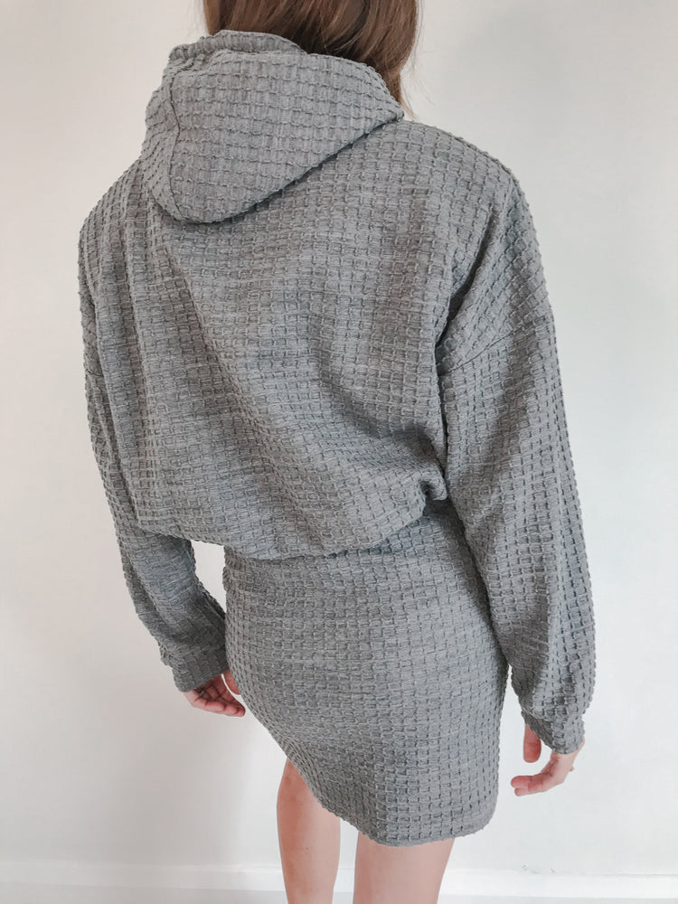Women's Light Grey Heddon Check Oversized Hoodie - P r é v u . S t u d i o .