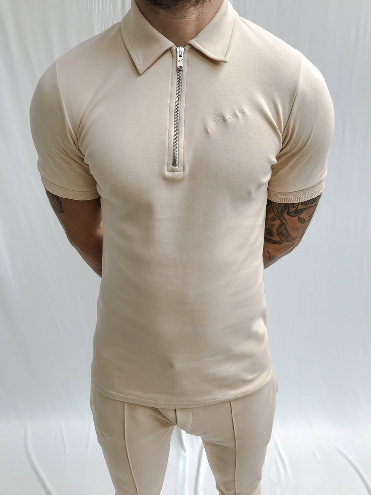 Peach Signature Logo Zip Neck Slim Fit Polo - P r é v u . S t u d i o .