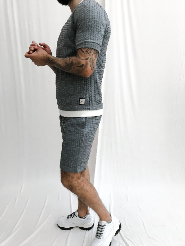 Light Grey Heddon Textured Check Shorts - P r é v u . S t u d i o .