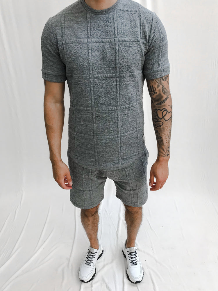 Light Grey Solace Check Shorts - P r é v u . S t u d i o .
