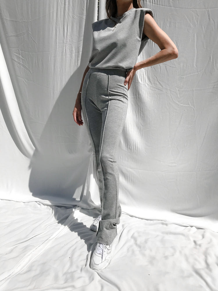 Women's Grey Aruba Skinny Fit Flared Trousers - P r é v u . S t u d i o .