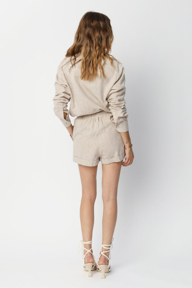 Women's Beige Naxos Linen Regular Fit Shorts - P r é v u . S t u d i o .