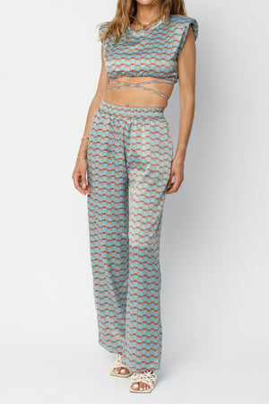 Load image into Gallery viewer, Women's Light Blue Villena Geo Print Wide Leg Trousers - P r é v u . S t u d i o .
