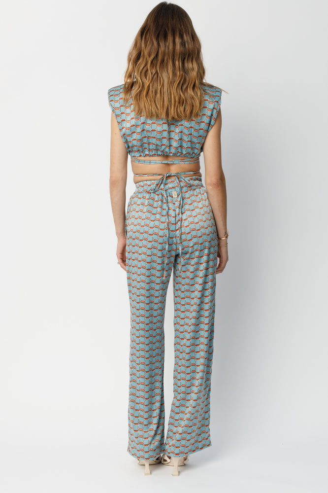 Women's Light Blue Villena Geo Print Wide Leg Trousers - P r é v u . S t u d i o .