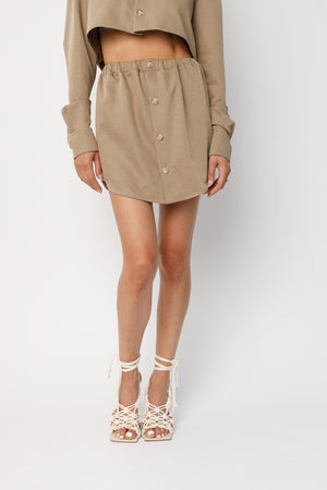 Load image into Gallery viewer, Women's Beige Otra Mini Skirt - P r é v u . S t u d i o .