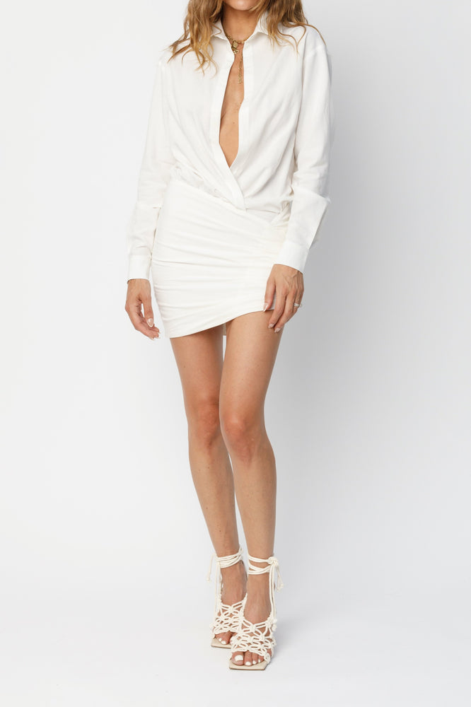 Women's White Alaro Linen Wrap Dress - P r é v u . S t u d i o .