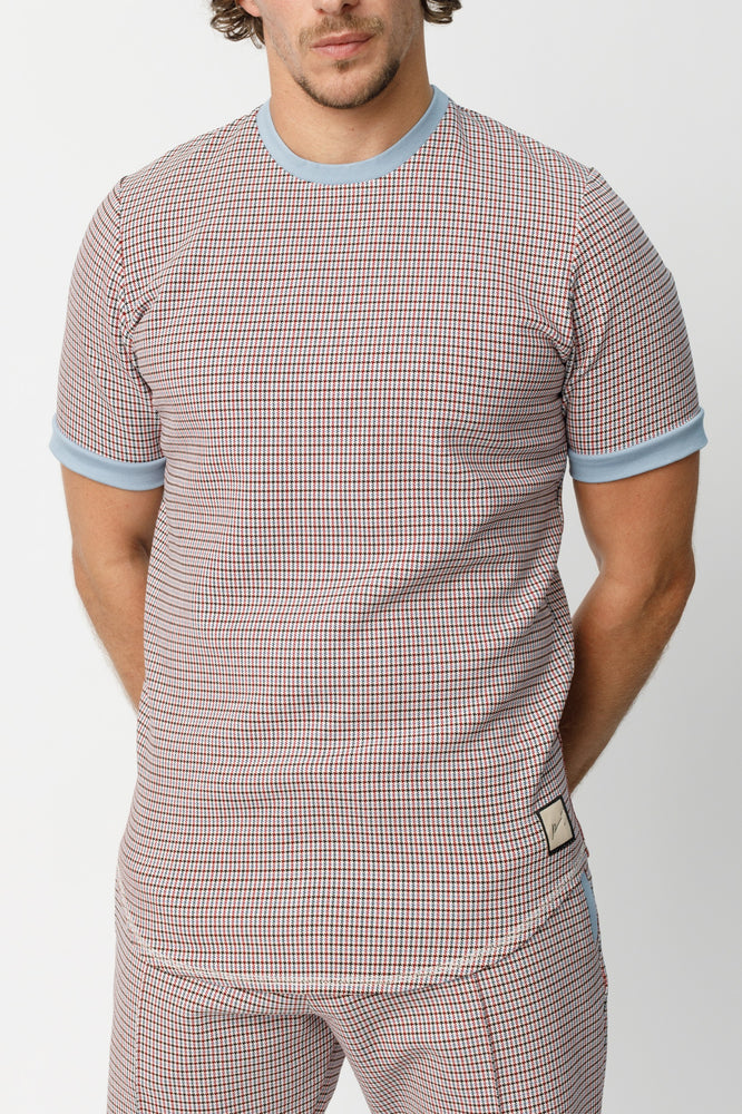 Blue Conduit Puppytooth Slim Fit T-shirt - P r é v u . S t u d i o .