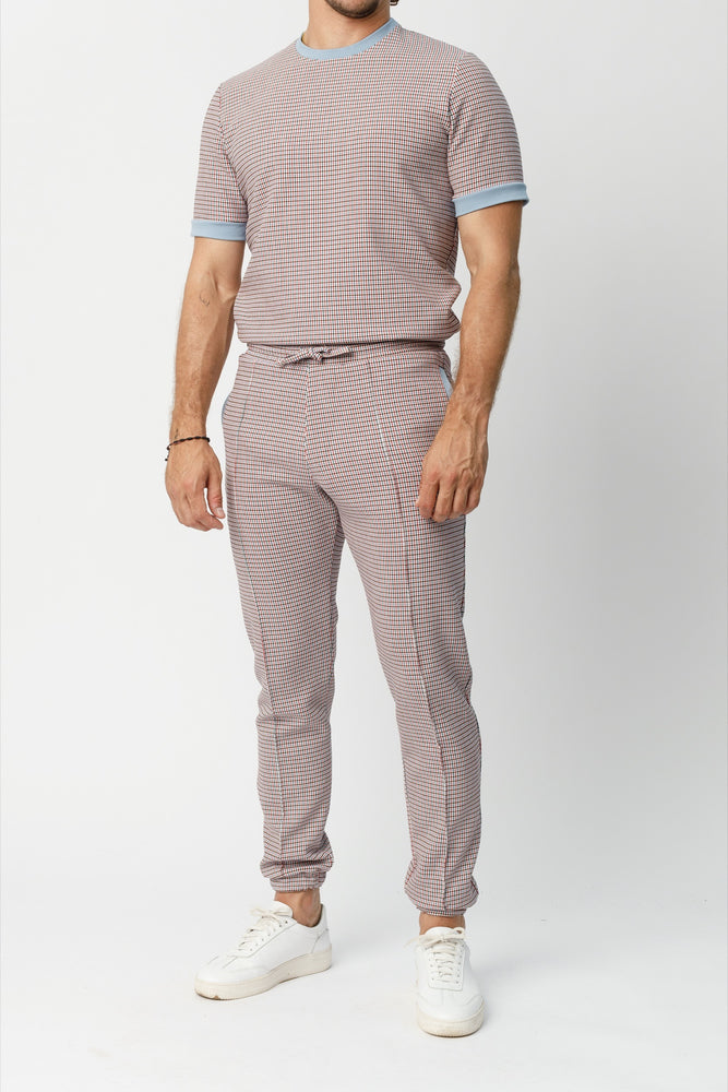 Blue Conduit Puppytooth Slim Fit Trousers - P r é v u . S t u d i o .