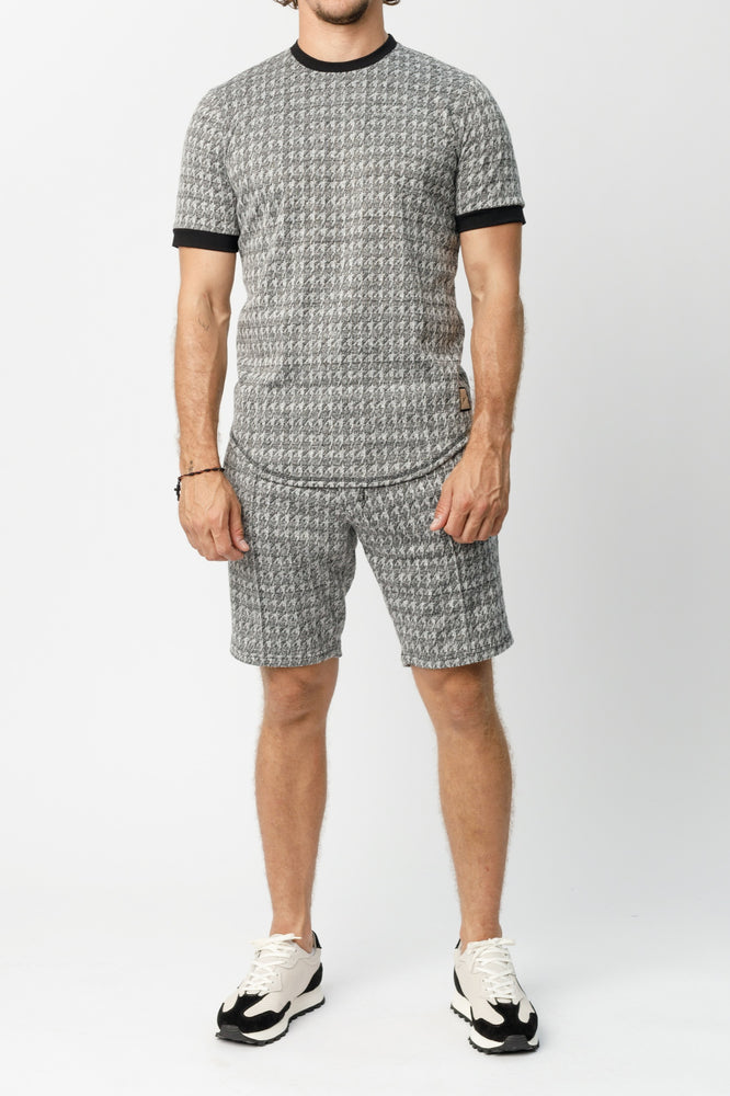 Ecru and Black Inca Puppytooth Shorts - P r é v u . S t u d i o .