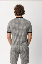 Ecru and Black Inca Puppytooth Slim Fit T-shirt - P r é v u . S t u d i o .