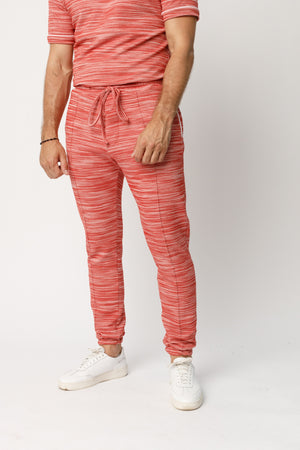 Red Rica Space Dye Slim Fit Joggers - P r é v u . S t u d i o .