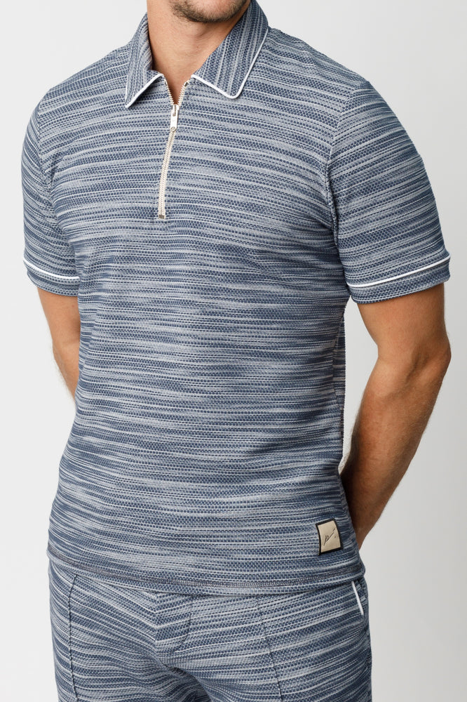 Navy Rica Space Dye Slim Fit Polo - P r é v u . S t u d i o .