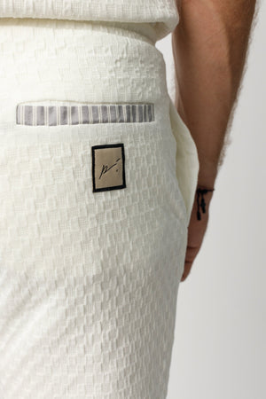 Load image into Gallery viewer, Ecru Ebro Panelled Shorts - P r é v u . S t u d i o .