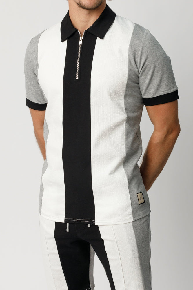 Grey Castell Panelled Slim Fit Polo - P r é v u . S t u d i o .