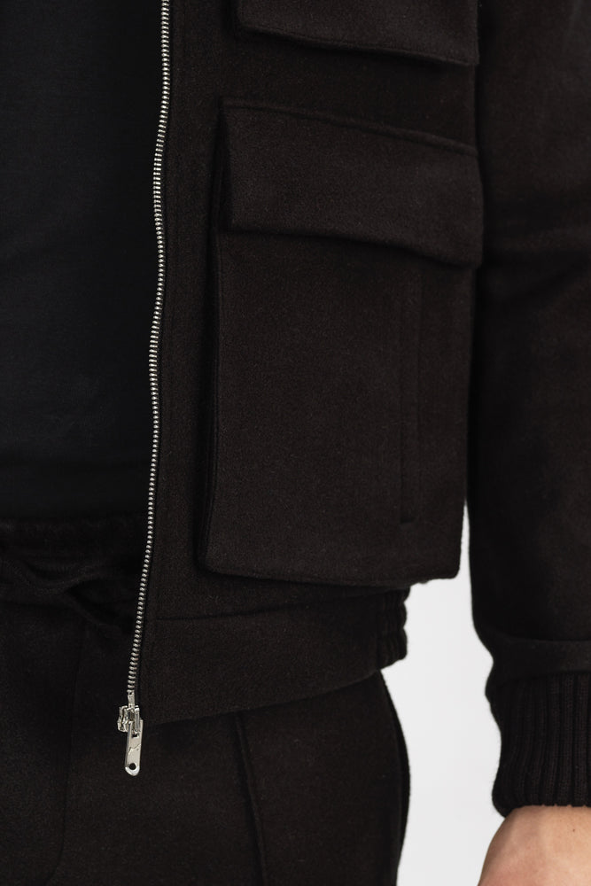Load image into Gallery viewer, Black Nord Wool Utility Bomber Jacket - P r é v u . S t u d i o .