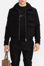 Black Nord Wool Utility Bomber Jacket