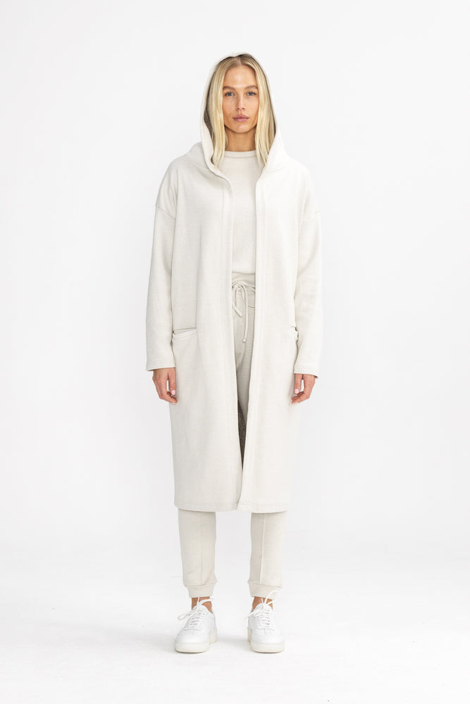 Load image into Gallery viewer, Women's Cream Macchiato Long Hooded Cardigan - P r é v u . S t u d i o .