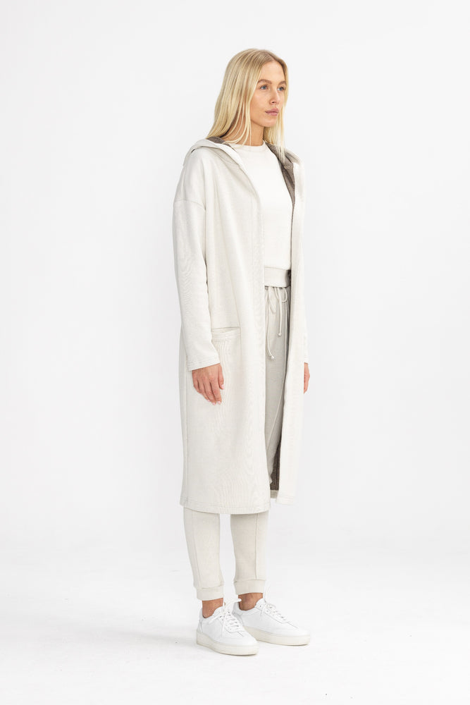 Women's Cream Macchiato Long Hooded Cardigan - P r é v u . S t u d i o .