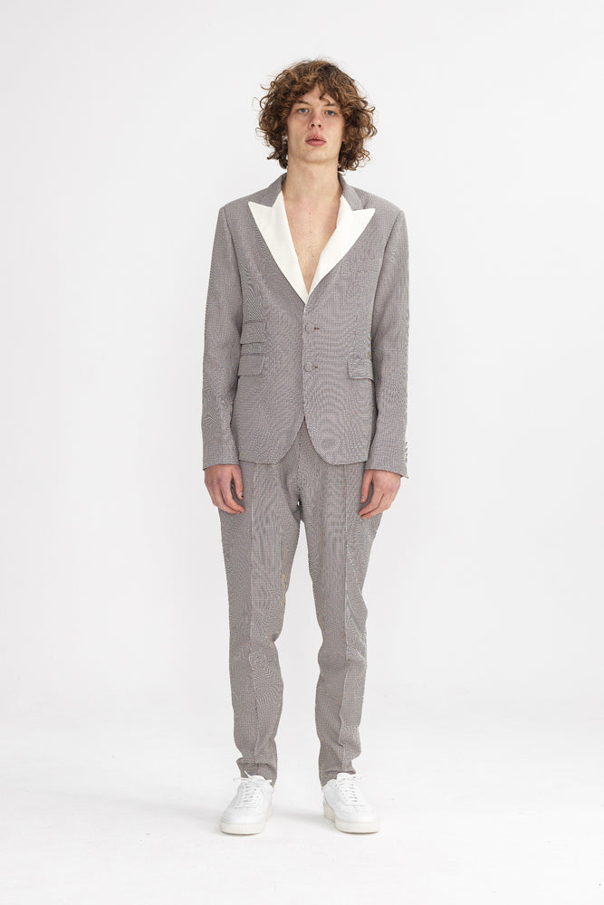 Cream and Black Balotelli Puppytooth Slim Fit Blazer - P r é v u . S t u d i o .