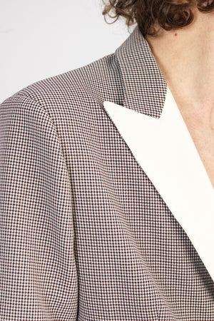 Load image into Gallery viewer, Cream and Black Balotelli Puppytooth Slim Fit Blazer - P r é v u . S t u d i o .