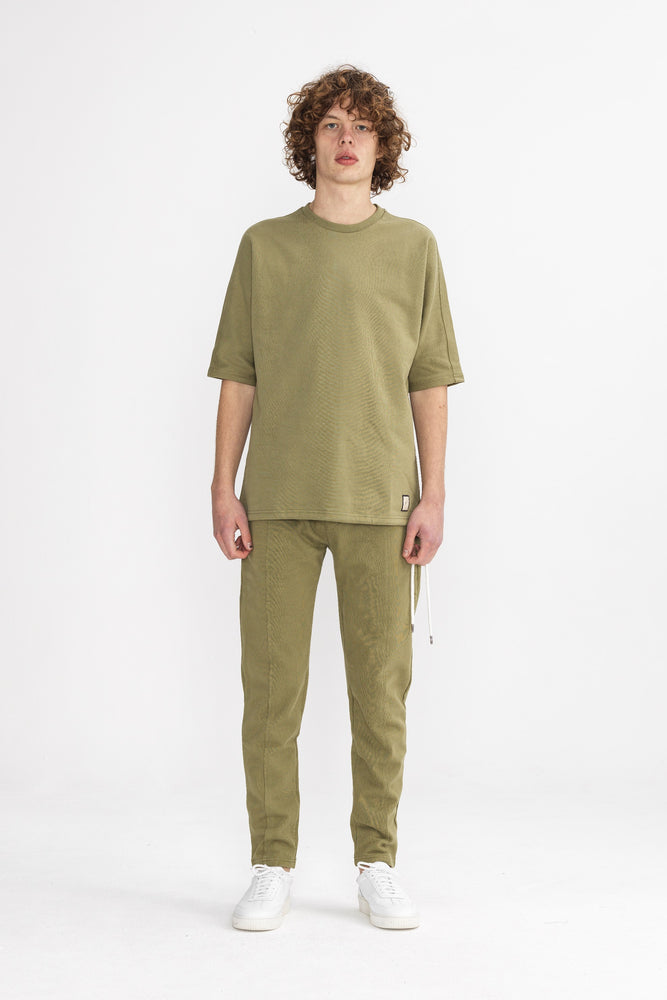 Khaki Core Luxe Regular Fit T-Shirt - P r é v u . S t u d i o .