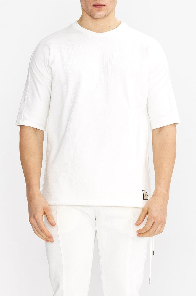 Load image into Gallery viewer, Cream Core Luxe Regular Fit T-Shirt - P r é v u . S t u d i o .