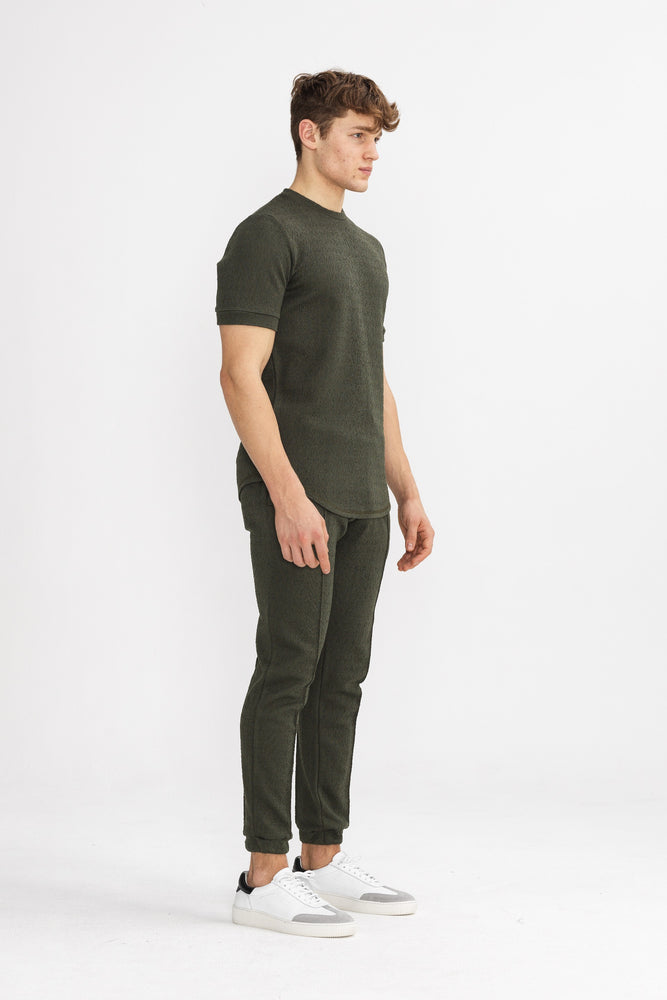 Load image into Gallery viewer, Khaki Navier Textured Slim Fit T-shirt - P r é v u . S t u d i o .