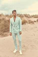 Light Blue Daytona Slim Fit Suit Trousers - P r é v u . S t u d i o .