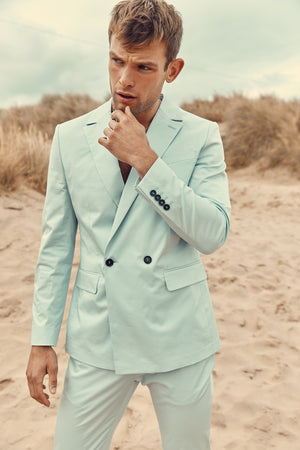 Light Blue Daytona Double Breasted Blazer - P r é v u . S t u d i o .