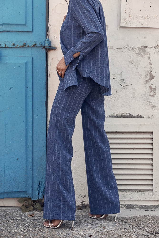 Women's Navy Sea Stripe Flared Trousers