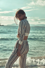 Women's Cream Formentera Stripe Trousers